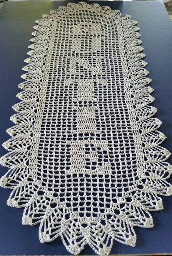 Filet Crochet Name Doily 6 letters Letter Style C vertical ...