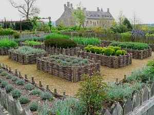 French Potager -- I love the woven raised beds