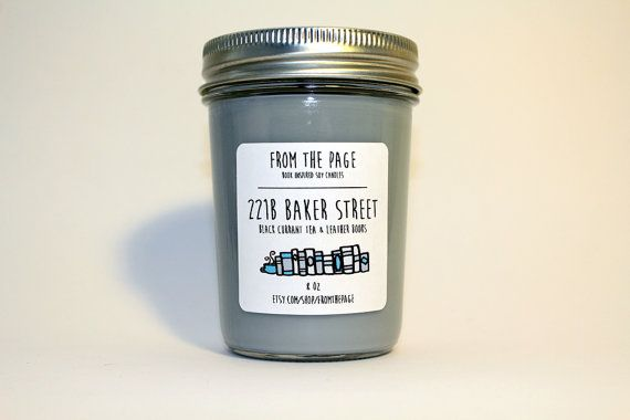 221B Baker Street Soy Candle 8 oz by FromthePage on Etsy