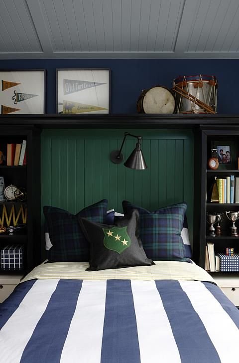 sarah richardson sarah 101 boys bedroom green blue - excellent makeover for a tween boy with custom bookcase headboard for storage, beadboard paneling to cover a popcorn spackle ceiling, and glow-in-the-dark constellation wallpaper!