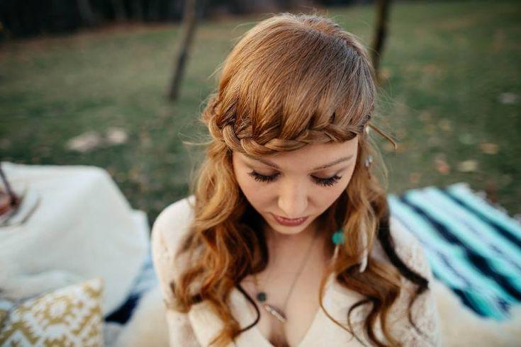 Bohemian Harvest Wedding Styled Shoot - Wedding Vault  Photo Hawkeye Photography Bridal hair front braid #bohobride #bohemianwedding