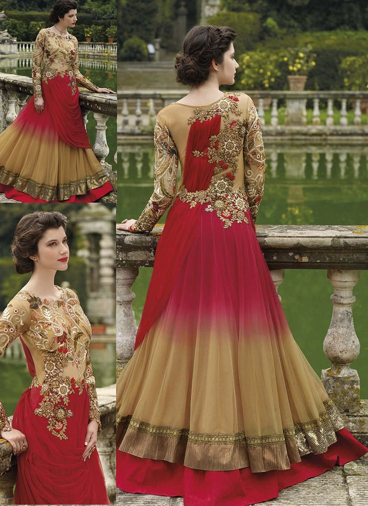 Featuring Haute couture red and beige shaded gown beautified with heavy resham and zari embroidery and patch work.It is paired with matching shatoon bottom material and chiffon duppata.This outfit can be stitched upto size 44. For stitching enquiries, please email us at customercare@hunardesigns.com…