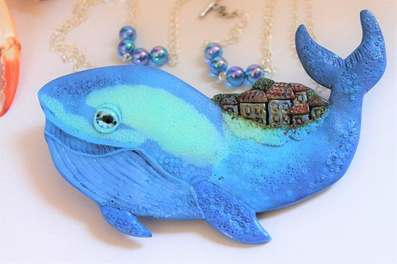 Blue Whale Necklace / Handmade