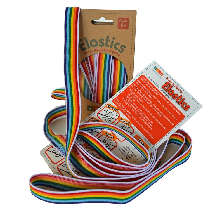 #1 of 2 Coloured elastics playground game. The classic playground jumping game is back with a modern twist. This elastics set contains some jumping elastics along with a comprehensive instruction guide for playing. The guide includes 5 song variations and guidelines on advancing the game from standard through to advanced levels. Bring back the fun from your childhood by sharing this game with younger generations.