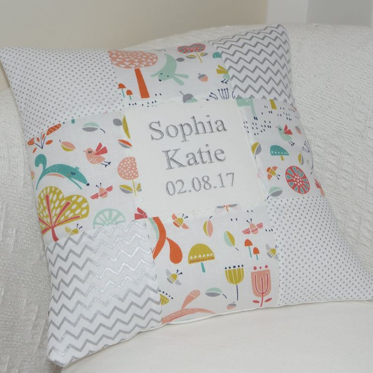 Forest Friends Name and Date Cushion
