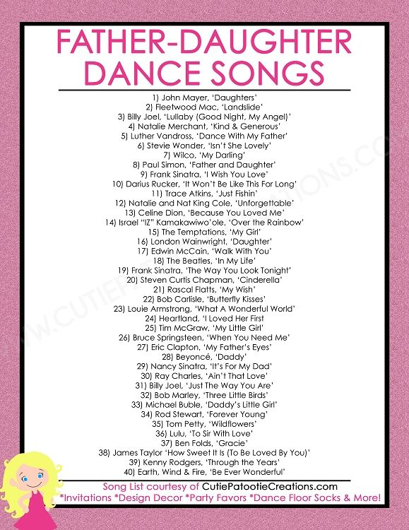FREE Printable List of Top 40 Father Daughter Dance Songs for Bat Mitzvah, Weddings, Sweet 16 and Quinceaneras by Cutie Patootie Creations. www.cutiepatootiecreations.com