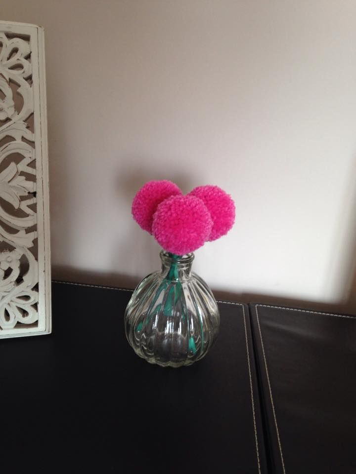 mini pompom flowers in small glass bud vase https://www.facebook.com/AndiesAccessories/photos/a.1088836111143103.1073741890.251860708173985/1098745180152196/?type=3&theater