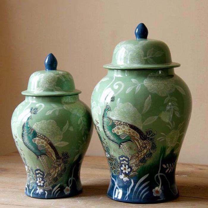 deko vase deko dose mit deckel aus keramik h he gro 45. Black Bedroom Furniture Sets. Home Design Ideas