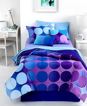 I like this blue and purple comforter set. It would be great for a teen girl bedroom.