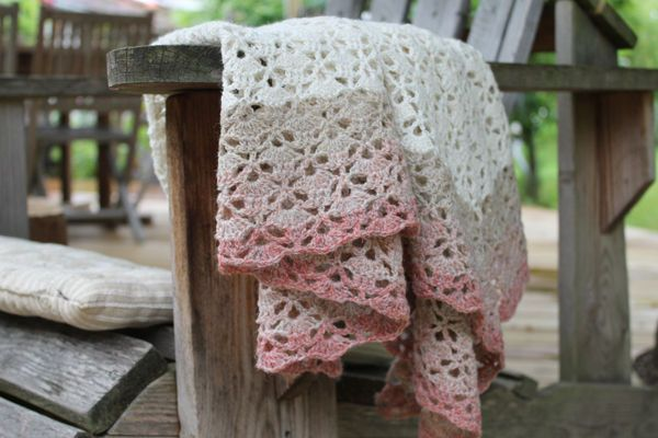 South Bay Shawlette ....WHITE.  Crochet.  Free pattern on Lion Brand Yarns.  These colours are MUCH nicer.