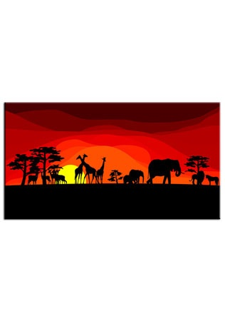Landscape African Animals At Safari Canvas Wall Printed On To A Which Would Be