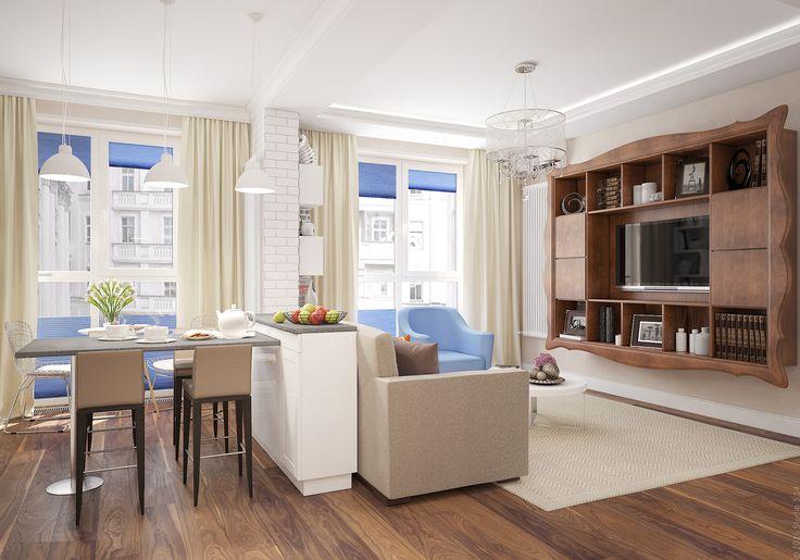 Зонирование гостиной и кухни с помощью столика-консоли, к которой крепится высокая столешница.