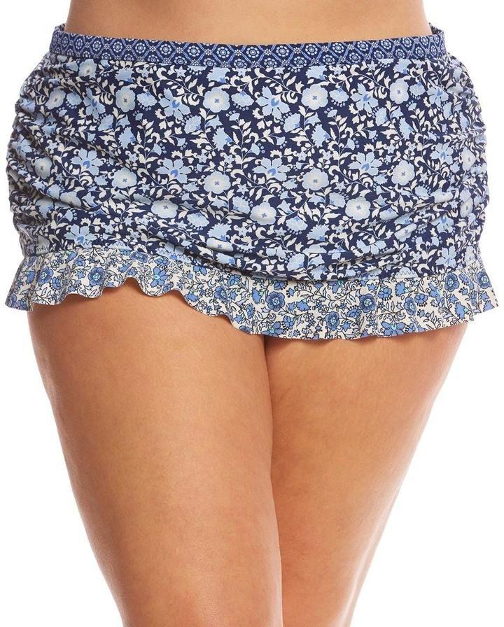 Jessica Simpson Swimwear Plus Size Patched Up Ruffle Skirted Bikini Bottom 8153832