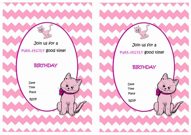Cat Free Printable Birthday Party Invitations Birthday