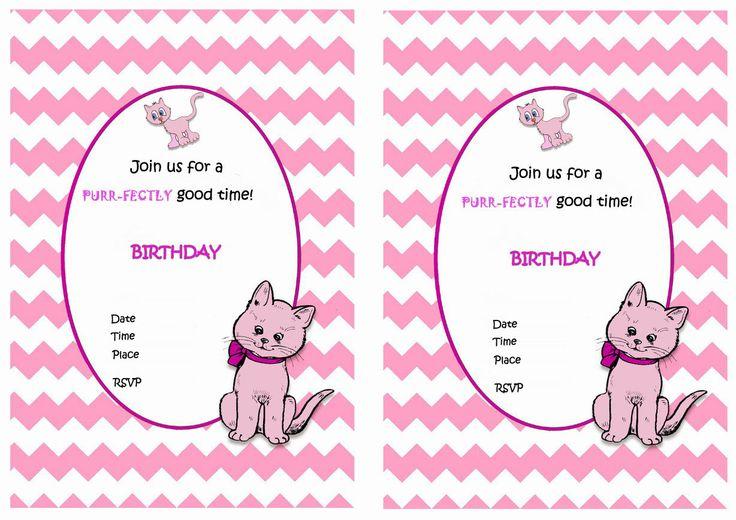 Cat FREE Printable Birthday Party Invitations