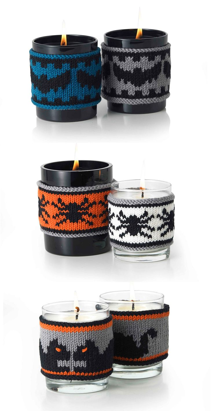 Free Knitting Patterns for Bat Toy and Halloween Candle Cozies with Bat, Spider, and Black Cat Motifs - MillaMia's bat decoration / softie uses a tennis or polystyrene ball  for the body and a pipecleaner to provide a bit of structure to the wings. Candle cozies feature bat, spider, or black cat motifs.