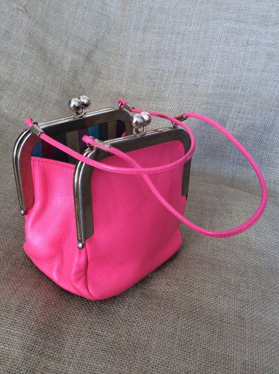 Rare Genuine Vintage Bonnie Cashin Pink Leather Kisslock