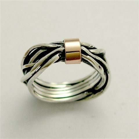 Sterling silver with rose gold wire wrapped simple ring - Forever and a day.
