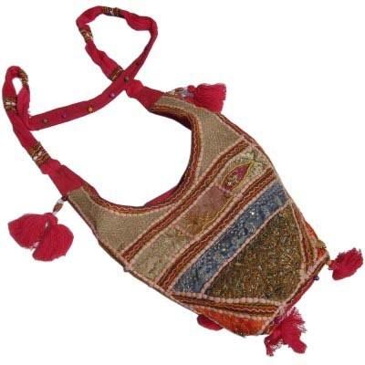 Hand Embroidery Zari Work Pink Shoulder Bag-109 #Hand Embroidery Zari