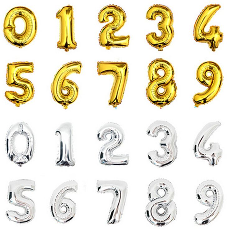 32inch Gold Silver Number Balloons 0-9 Digit Helium Foil Balloon For Party Birthday Decorations Globas Toys Balony 32""