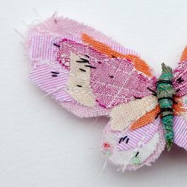 at last a use for all those tiny cut off scraps of fabric from applique projects , sew together and make a butterfly brooch , great gifts for birthdays , friends , teachers and mums everywhere Image of Butterfly brooch- PALE PINK
