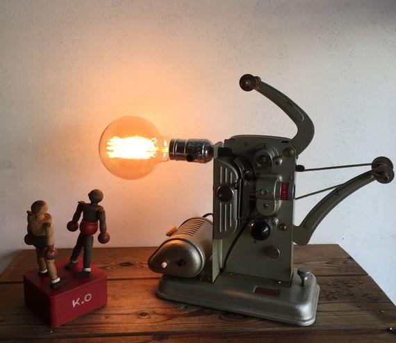 Lampe orignale deco ancienne projecteur super 8 vintage deco loft