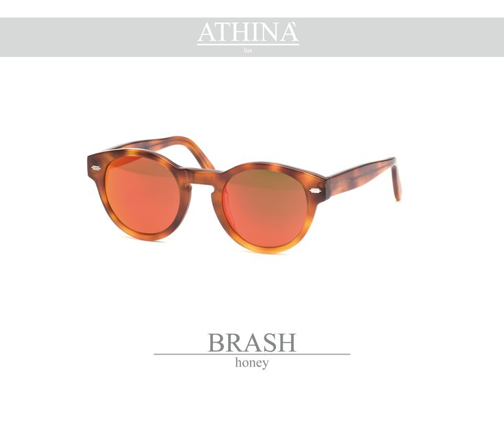 Mod. BRA0303M01 Made with light,demi coloured acetate of cellulose and mirror red lenses.