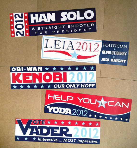 Star Wars politics. Kind of want these, especially the Yoda one.