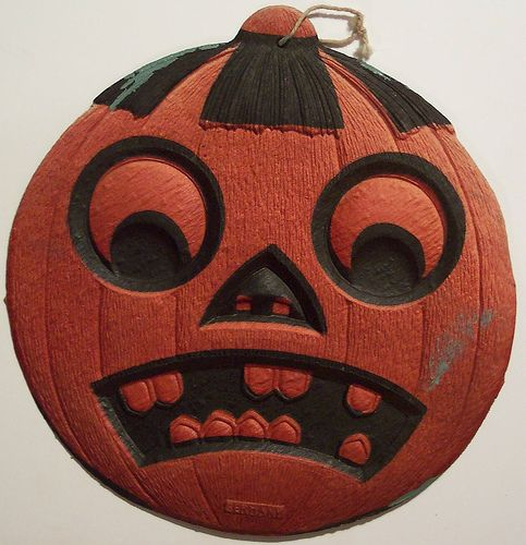 vintage german halloween diecut jack o lantern - German Halloween Decorations