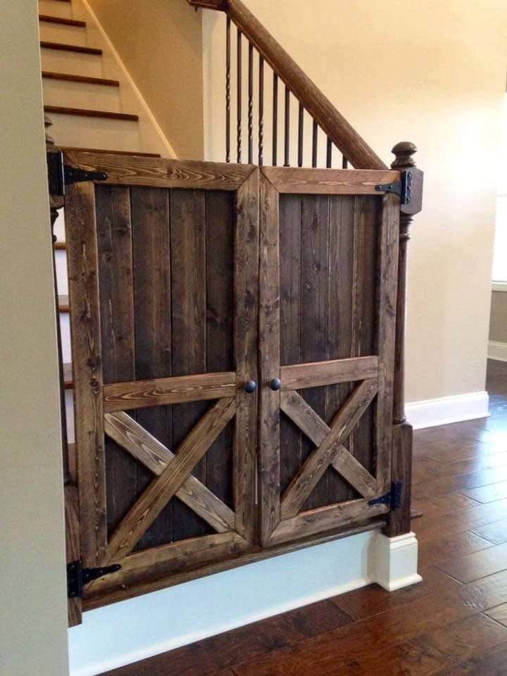 This Is Gorgeous For A Pet Or Baby Gate Wood Barn Door Baby Gate For At The Bottom Of The Stairs A Barn Door Baby Gate Handmade Home Rustic Furniture Design