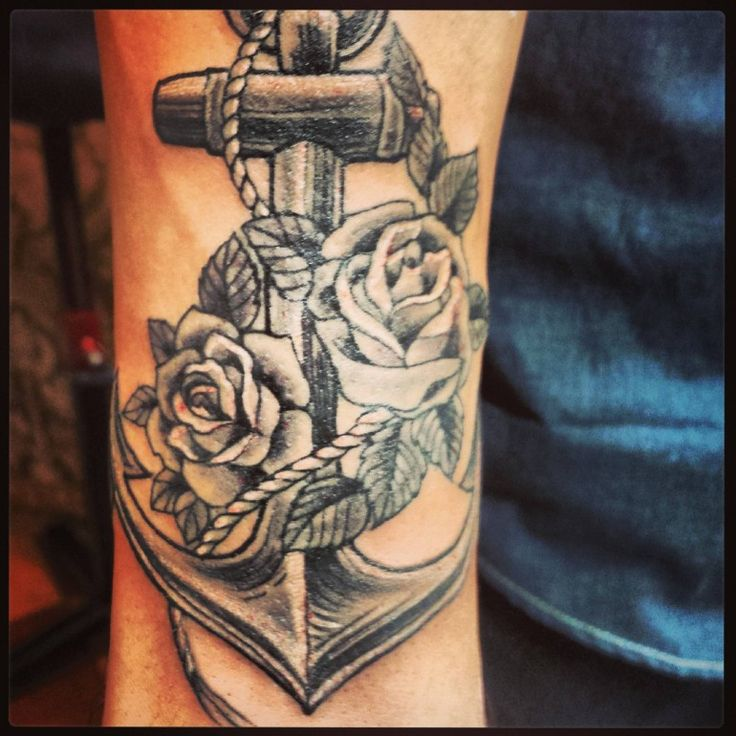 Grey Ink Rose Flowers And Anchor Tattoo