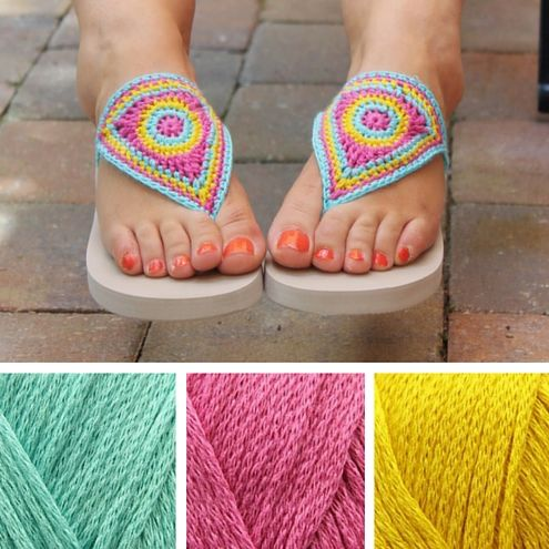 Crochet flipflops, free crochet pattern by Miss Neriss |  Happy in Red