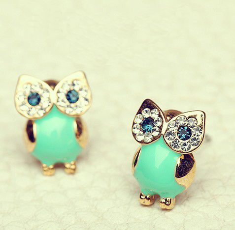 Unique Shiny Sparking Cute Owl Earrings
