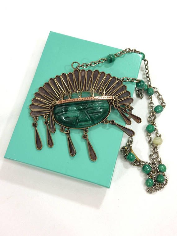 Large Mexican Tribal / Aztec Pendant Necklace Copper & Green