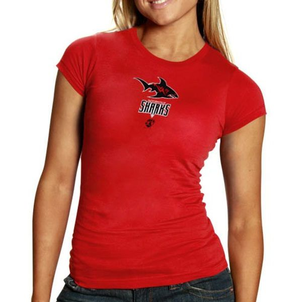 Jacksonville Sharks Women's Red Team Logo T-shirt - $19.99