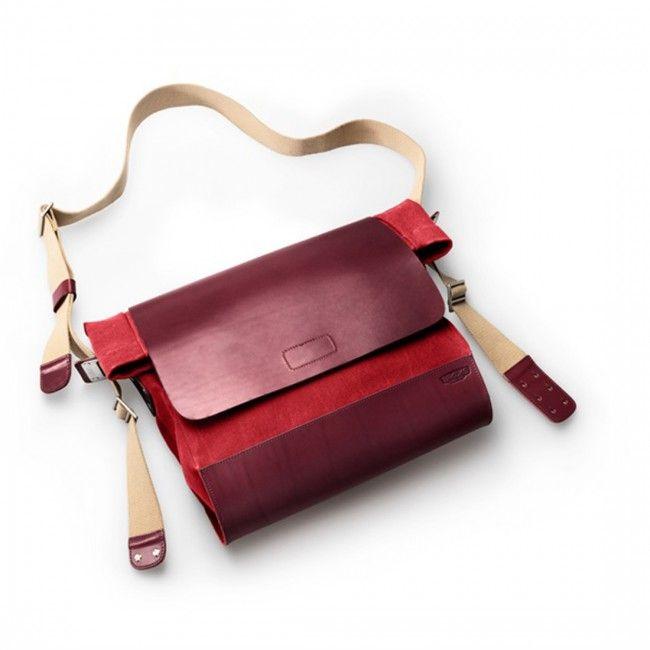 Brooks England I New Brixton shoulder bag & tote I Schultertasche I Umhänge Fahrradtasche Farbe: rot/ pomegranate I Details