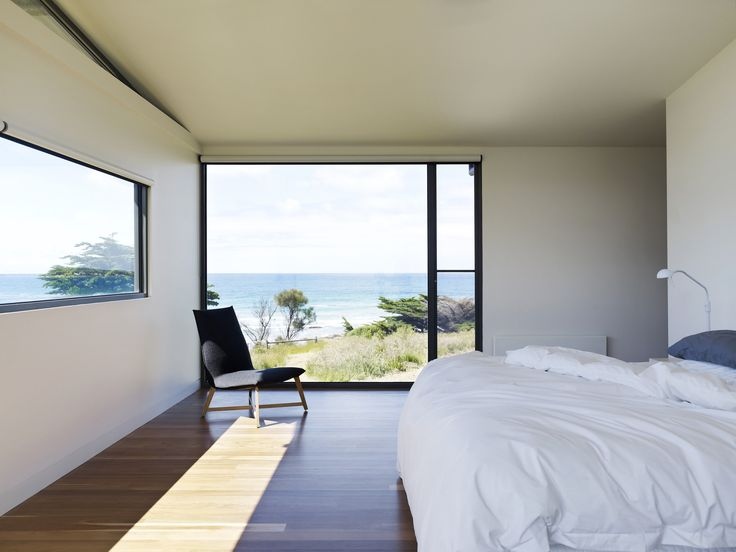 Waterfront Residence Located in the Seashore : Bedroom Interior Design Among Minimalist Modern Style Inspiration With Wooden Flooring Also Glass Door Ideas Design Inspiration