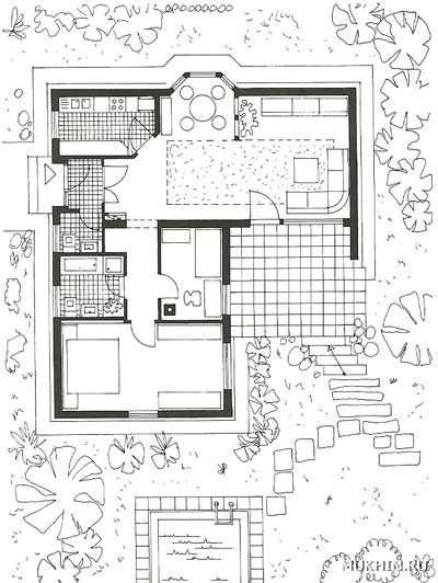 L shaped house- 1 bedroom/ 1 bathroom/ living room/ kitchen/ dining+ laundry+ studio/ bedroom+ porch