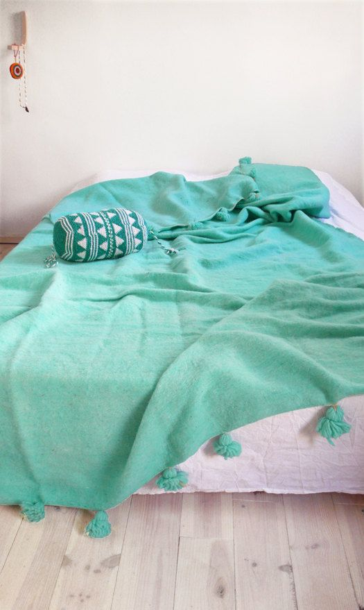 Large Moroccan POM POM Wool Blanket - Turquoise