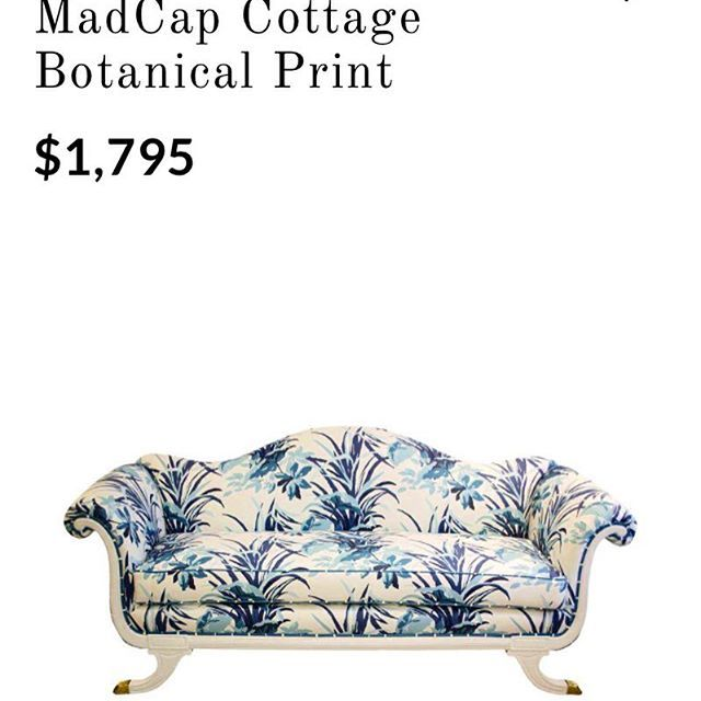 Good morning, friends! The @madcapcottage gents love seeing how our Madcap Cottage fabrics for @robertallendesign are being used... Here, an Empire-style sofa for sale that we spotted on @chairishco, wrapped in MC Bermuda Bay. #madcapcottage #robertallen #style #inspiration #instastyle #deco #interiordesign #vintage