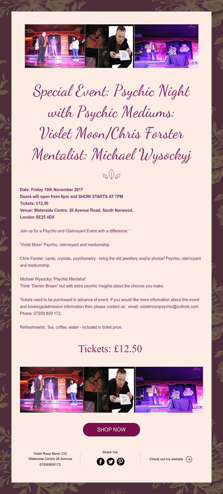 Special Event: Psychic Night   with Psychic Mediums:  Violet Moon/Chris Forster  Mentalist: Michael Wysockyj