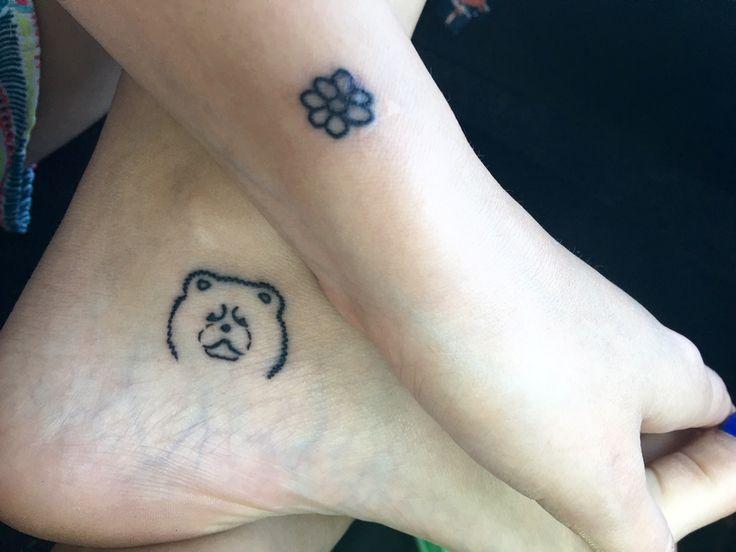 my cute Chow Chow tattoo and flower wrist tattoo
