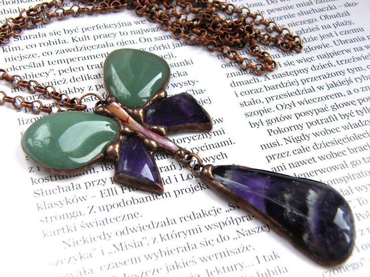 Chains – Necklace: Art Nouveau pendant with amethyst – a unique product by Patrycja-Baran on DaWanda
