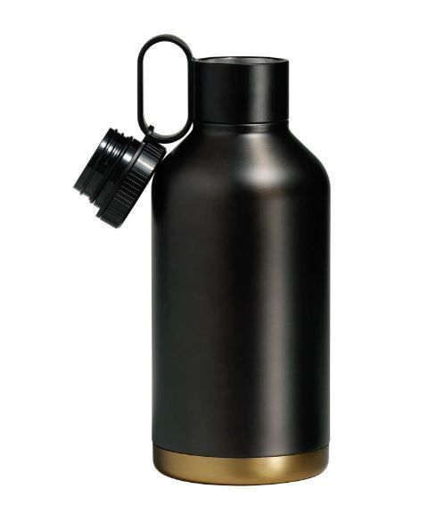 New Beer Growler in Brass/Black Stainless Steel Drink Container Bar Insulated #rabbit