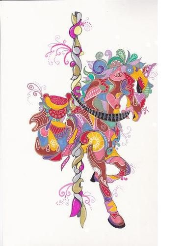 Lwick Original Ink Zentangle Doodle Design Animal Carousel Horse Pony Unique | eBay