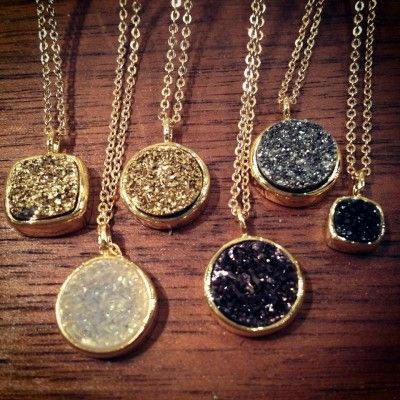 Druzy Pebble Necklaces.. Perfect for fall