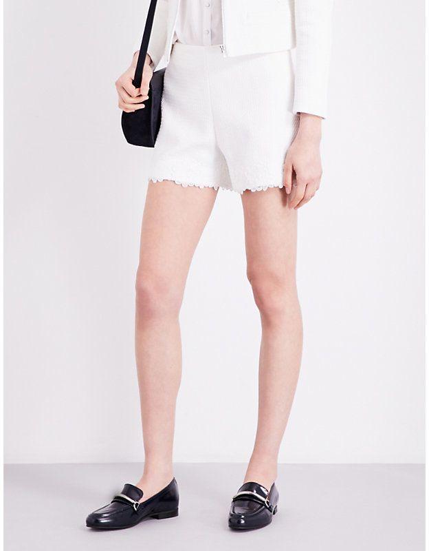 Claudie Pierlot Emilia lace-trimmed tweed shorts