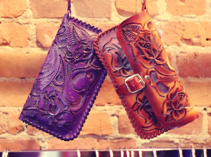 Amazing detail on these hand-tooled leather clutch / wallets from Mexico!! Perfect gift for the woman who likes unique, quality made items that she can keep forever. More colours to see in the shop!