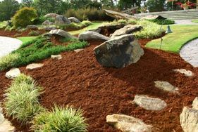 Pine bark mulch creates a neat finished look for garden beds also stops weeds and keeps moisture in soil.