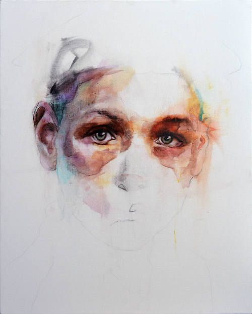 Michał Janowski (b. 1984, Poznan, Poland, UK based) - I Paintings: Acrylics, Charcoal, Coffee on Canvas